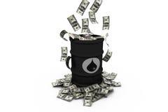 Barril de petróleo con los dólares Fotografía de archivo libre de regalías