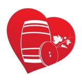 Barril de vino dentro del marco del corazón Imagen de archivo libre de regalías