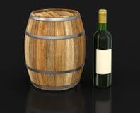 Barril de vino y botella (trayectoria de recortes incluida) Fotografía de archivo