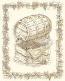 Barril del roble del grabado y caja de madera con la uva madura Imagenes de archivo