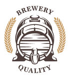 Barril del vintage de frontal del emblema de la cerveza Fotos de archivo libres de regalías