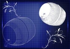 Barril en un fondo azul Imagen de archivo libre de regalías