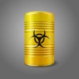 Barril grande amarillo brillante realista con bio peligro Imagen de archivo libre de regalías