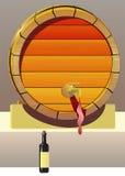 Barril y botella de vino. Fotos de archivo libres de regalías