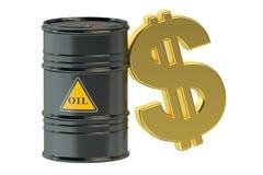 Barril y dólar de aceite Fotografía de archivo libre de regalías