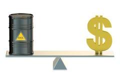 Barril y dólar de aceite en el oscilación Foto de archivo libre de regalías
