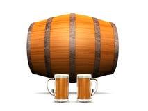 Barril y vidrios de cerveza Foto de archivo libre de regalías