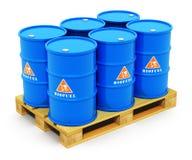 Barriles con combustible biológico en la plataforma del envío Fotos de archivo libres de regalías
