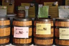 Barriles con la miel Imagen de archivo
