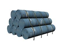 Barriles de aceite azules y grises - representación 3D Imagen de archivo