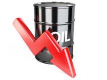 Barriles de aceite con la flecha roja abajo Imagenes de archivo