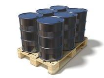 Barriles de aceite negros en la plataforma euro de madera Fotos de archivo