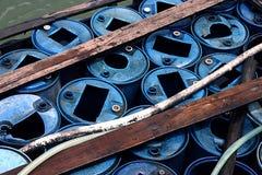 Barriles de agua en un barco Imágenes de archivo libres de regalías
