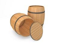 Barriles de madera aislados Imágenes de archivo libres de regalías