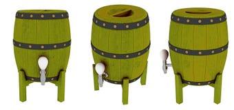 Barriles de madera con los golpecitos Imagen de archivo libre de regalías