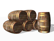 Barriles de madera, objeto Imágenes de archivo libres de regalías