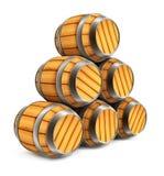 Barriles de madera para el almacenaje del vino y de la cerveza aislado stock de ilustración