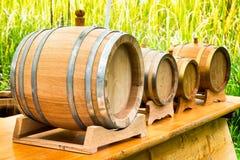 Barriles de madera viejos del aceite Imágenes de archivo libres de regalías