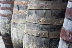 Barriles de madera viejos para salvar el vino Fotografía de archivo