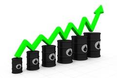 Barriles de petróleo con el aumento de la flecha Imagen de archivo libre de regalías