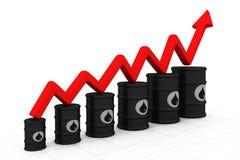Barriles de petróleo con el aumento de la flecha Foto de archivo