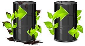 Barriles de petróleo con la flecha
