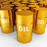 Barriles de petróleo del oro Fotografía de archivo
