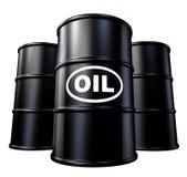 Barriles de petróleo y de gas y símbolo de los tambores Fotografía de archivo