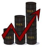 Barriles de petróleo con el aroow rojo Imagenes de archivo