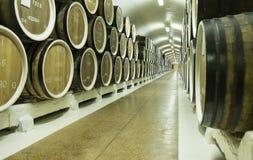 Barriles de vino almacenados en el sótano imagen de archivo libre de regalías