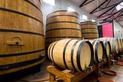 Barriles de vino grandes y pequeños Imagen de archivo libre de regalías