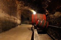 Barriles de vino viejos en la cámara acorazada Foto de archivo