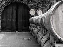 Barriles de vino y puerta arqueada Foto de archivo