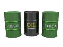 Barriles del diesel, del petróleo y de la gasolina libre illustration