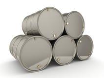 barriles determinados del cromo de la representación 3D Fotos de archivo libres de regalías