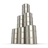 barriles determinados del cromo de la representación 3D Imagenes de archivo