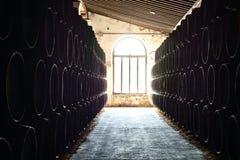 barriles en bodega Foto de archivo libre de regalías