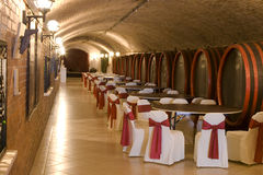 Barriles en un vino-sótano. Imágenes de archivo libres de regalías