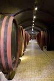 Barriles en un vino-sótano. Fotos de archivo
