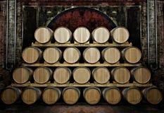 Barriles en un vino-sótano Imagenes de archivo