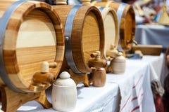 Barriles hechos a mano de madera Fotografía de archivo libre de regalías
