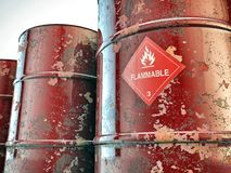 Barriles inflamables Fotos de archivo libres de regalías