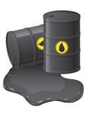 Barriles negros con el ejemplo derramado del vector del aceite Foto de archivo libre de regalías