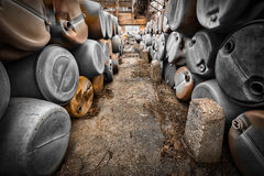 Barriles plásticos de basura tóxica Fotografía de archivo libre de regalías