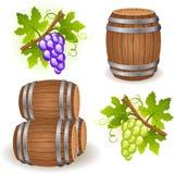 Barriles y uva de madera ilustración del vector