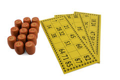 Barriletes y tarjetas de la loteria aislados en blanco Fotografía de archivo
