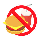 Barring a burger and soda 3d isometric icon. Isolated on a white background Royalty Free Stock Images
