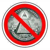 Barring a world government. The end of the new world order. Prohibited Illuminati. Ban mason. One dollar pyramid isolated Royalty Free Stock Images