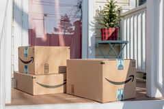 Free Barrington, IL/USA 12-08-2018: Holiday Packages Arrive From Amazon Stock Photography - 134041162