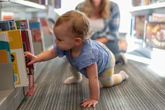 Barrington, IL/USA - 09-23-2019: Toddler girl crawling in the library